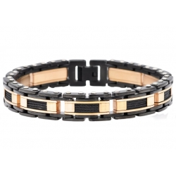 BJB206BR. Mens Rose And Black Plated Stainless Steel Link Wire Bracelet