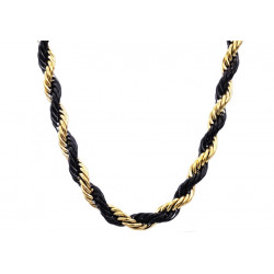 BJS26NBG. Mens Gold And Black Plated Stainless Steel Rope Chain Necklace