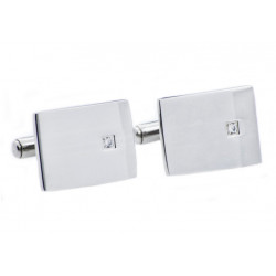 BJC21. Mens Stainless Steel Cuff Links With Cubic Zirconia