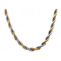 BJS26NG. Mens Gold Plated Stainless Steel Rope Chain Necklace