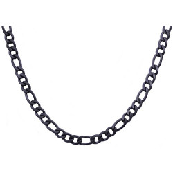 BJS27NB. Mens Black Plated Stainless Steel Figaro Link Chain Necklace