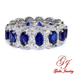 LR02814. Diamond and Oval Sapphire Ladies Ring - Size 7.5