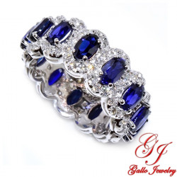 WB02848. Diamond and Oval Sapphire Ladies Ring - Size 6.0