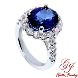 LR02737. Oval Sapphire Diamond Ladies Ring