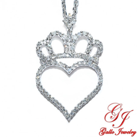 77029. Diamond Heart with Crown Pendant