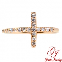LR02559. Rose Gold Diamond Cross Ring