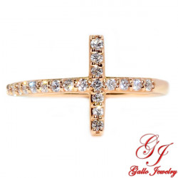 R02559. Rose Gold Diamond Cross Ring