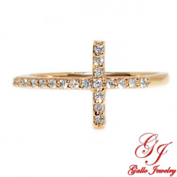 R02560. Rose Gold Diamond Cross Ring