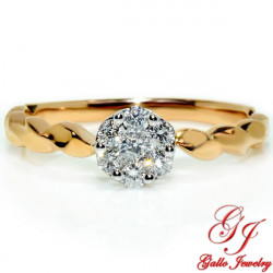 118105. Ladies Cluster Solitaire Twist Shank Ring