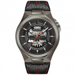 98A237. BULOVA Men's Maquina Black Leather Strap with Red Stitches