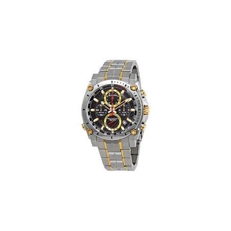 98B228. BULOVA Men's Gold Tone Black Dial Precisionist Watch