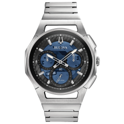96A205. BULOVA Men's CURV Stainless Steel Chronograph Watch