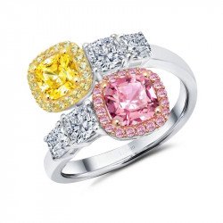 R0349PCM. Lafonn Classic Two-Tone Canary Simulated Diamond Ring