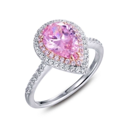 R0345CPP. Lafonn Classic Platinum-Plated Pink Simulated Diamond Ring