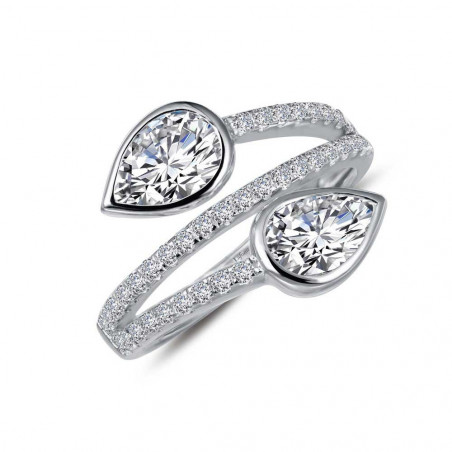 R0228CLP. Lafonn Classic Platinum-Plated Simulated Diamond Ring