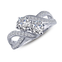 R0219CLP. Lafonn Classic Platinum-Plated Simulated Diamond Ring