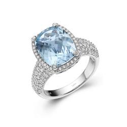 GR018BTP. Lafonn Aria Platinum-Plated Blue Topaz Ring