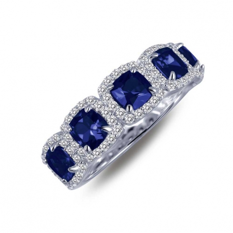 R0145CSP. Lafonn Classic Platinum-Plated Synthetic Sapphire Ring