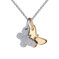 P0238CLT. Lafonn Classic Two-Tone Simulated Diamond Necklace