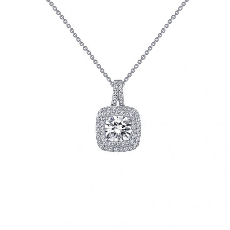 P0161CLP. Lafonn Classic Platinum-Plated Simulated Diamond Necklace
