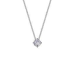 N0152CLP. Lafonn Classic Platinum-Plated Simulated Diamond Necklace