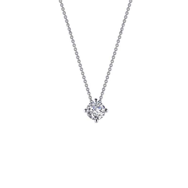 N0152CLP. Lafonn Classic Platinum-Plated Simulated Diamond Necklace