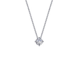 N0172CLP. Lafonn Classic Platinum-Plated Simulated Diamond Necklace (0.7 CTTW)