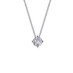 N0174CLP. Lafonn Classic Platinum-Plated Simulated Diamond Necklace (1.5 CTTW)