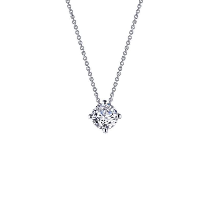 N0174CLP. Lafonn Classic Platinum-Plated Simulated Diamond Necklace (1.5 CTTW)