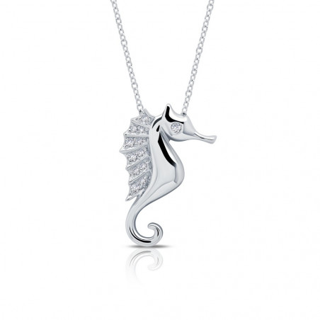 N0159CLP. Lafonn Platinum-Plated Simulated Diamond Sea Horse Necklace
