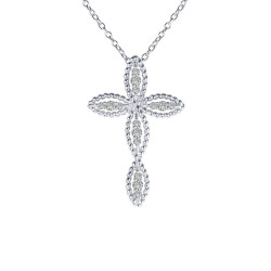 N0139CLP. Lafonn Classic Platinum-Plated Simulated Diamond Cross Pendant