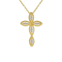 N0139CLG. Lafonn Classic Gold-Plated Simulated Diamond Cross Pendant