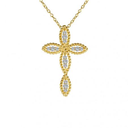 N0139CLG. Lafonn Classic Gold-Plated Simulated Diamond Cross Pendant
