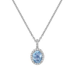 GP008BTP. Lafonn Aria Platinum-Plated Blue Topaz Necklace