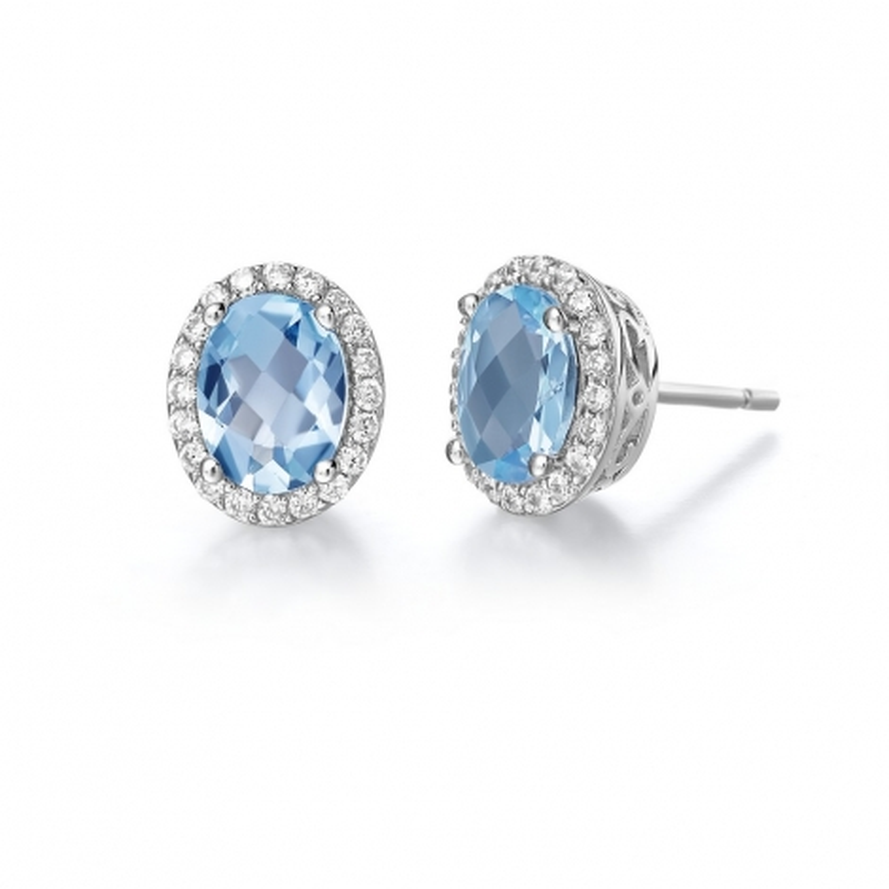 GE008BTP. Lafonn Aria Platinum-Plated Blue Topaz Earrings
