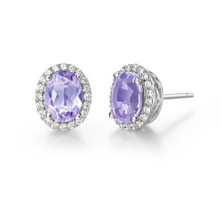 GE008AMP. Lafonn Aria Platinum-Plated Amethyst Earrings