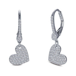 E0398CLP. Lafonn Classic Platinum-Plated Simulated Diamond Earrings