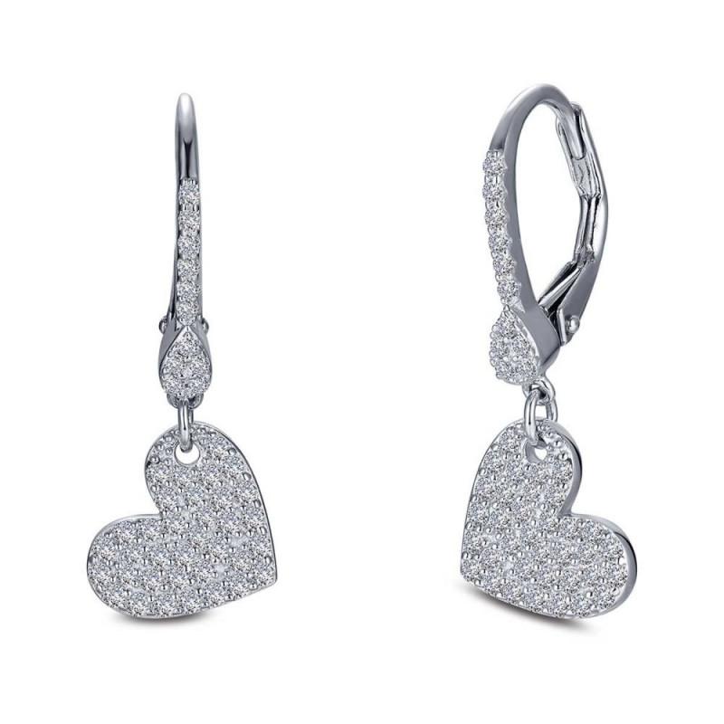 E0398CLP. Lafonn Classic Platinum-Plated Simulated Diamond Earrings