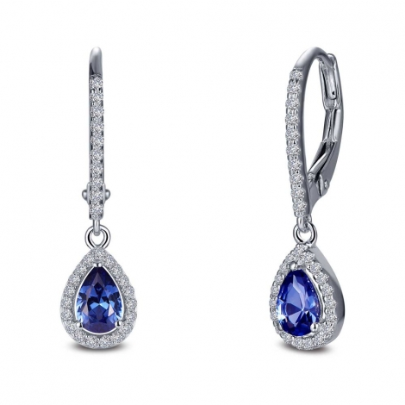 E0388CTP. Lafonn Classic Platinum-Plated Simulated Tanzanite Earrings