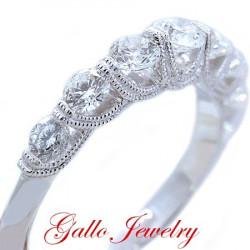 WB00360. Ladies Antique Style Prong Setting Diamond Wedding Band