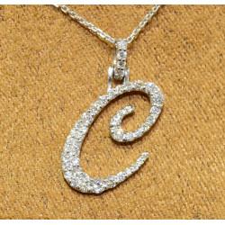 PEN03237.B Cursive Initial Pendant - Letter C
