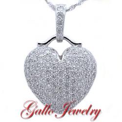 Fancy puffed diamond heart pendant mozeypictures Choice Image