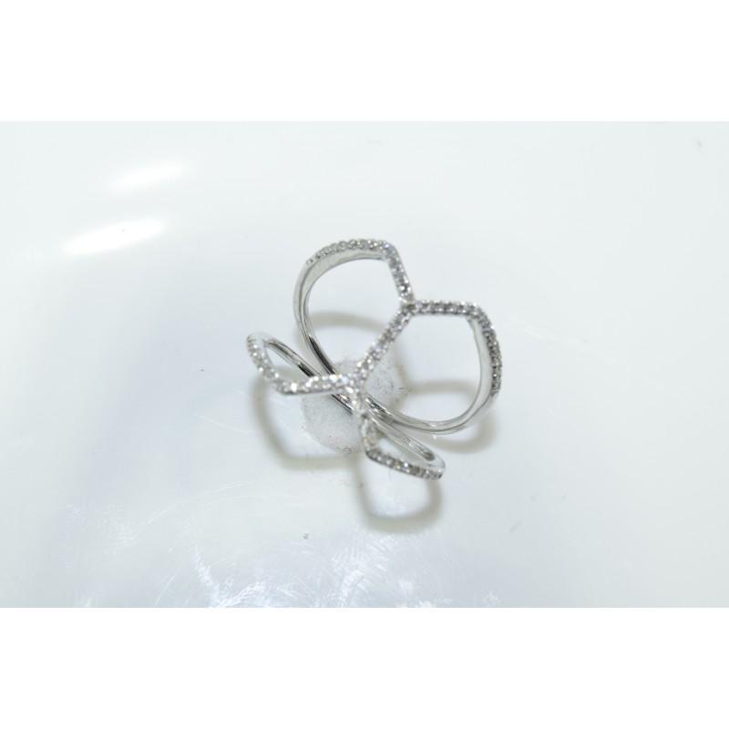 LR01201 Ladies Cross Over Fashion Ring