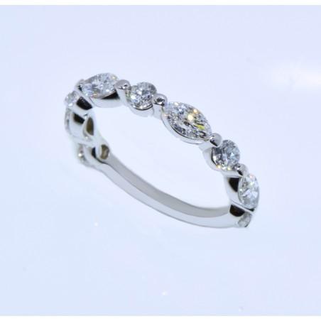 WB03148. 1.45CT Round and Marquise Alternating Diamond Wedding Band