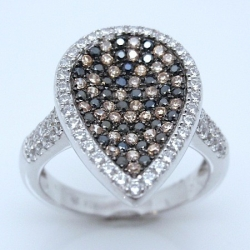 S020. 925 Silver White, Champagne & Black Crystal Ladies Ring