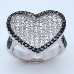 S021. 925 Silver White & Black Crystal Ladies Heart Ring