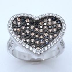 S023. 925 Silver White, Champagne & Black Crystal Ladies Heart Ring