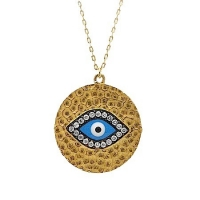 S024. Gold Plated 925 Silver Crystal Evil Eye Pendant