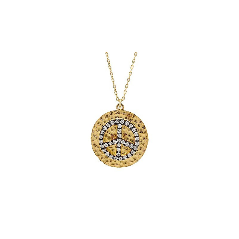 S026. Gold Plated 925 Silver Crystal Peace Pendant