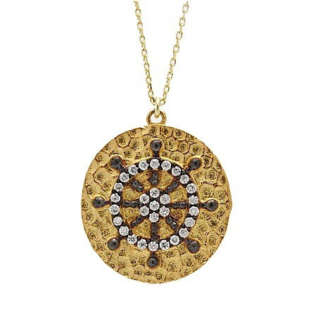 S027. Gold Plated 925 Silver Crystal Fancy Pendant